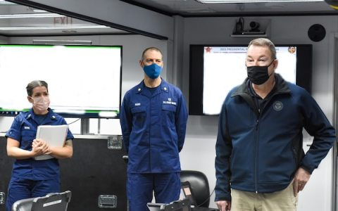 Acting Homeland Security Secretary Peter Gaynor speaks to Coast Guard crew members after receiving a Coast Guard briefing regarding security operations for the 2021 Presidential Inauguration at the Enhanced Mobile Incident Command Post at Joint Base Anacostia-Bolling, Washington, Jan. 16, 2021. On Sept. 24, 2018, the Department of Homeland Security designated the Presidential Inauguration as a recurring National Special Security Event. Events may be designated NSSEs when they warrant the full protection, incident management and counterterrorism capabilities of the Federal Government. (U.S. Coast Guard photo by Petty Officer 3rd Class Kimberly Reaves/Released)