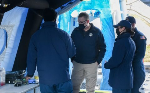 Members of the Coast Guard National Strike Force Atlantic Strike Team show Acting Homeland Security Secretary Peter Gaynor a decontamination station for Coast Guard security operations for the 2021 Presidential Inauguration at Joint Base Anacostia-Bolling, Washington, Jan. 16, 2021. On Sept. 24, 2018, the Department of Homeland Security designated the Presidential Inauguration as a recurring National Special Security Event. Events may be designated NSSEs when they warrant the full protection, incident management and counterterrorism capabilities of the Federal Government. (U.S. Coast Guard photo by Petty Officer 3rd Class Kimberly Reaves/Released)