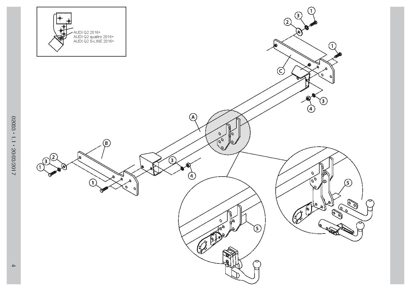 Vertical Detach Towbar For Audi A3 3 5dr Quattro S Line