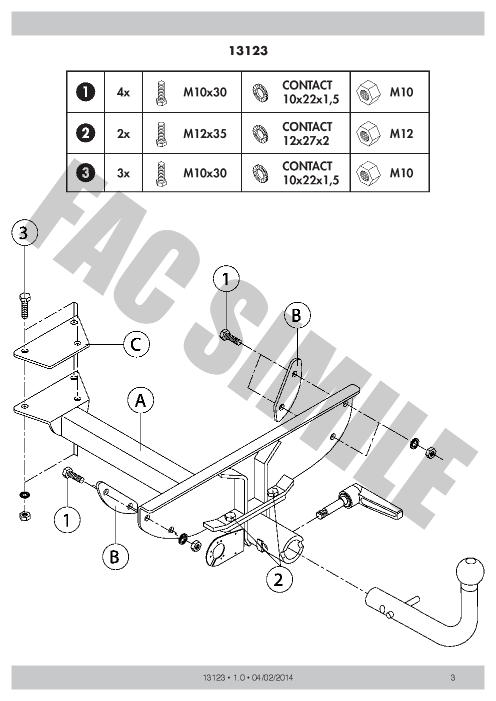 hight resolution of detach towbar 13p c2 wiring kit for fiat