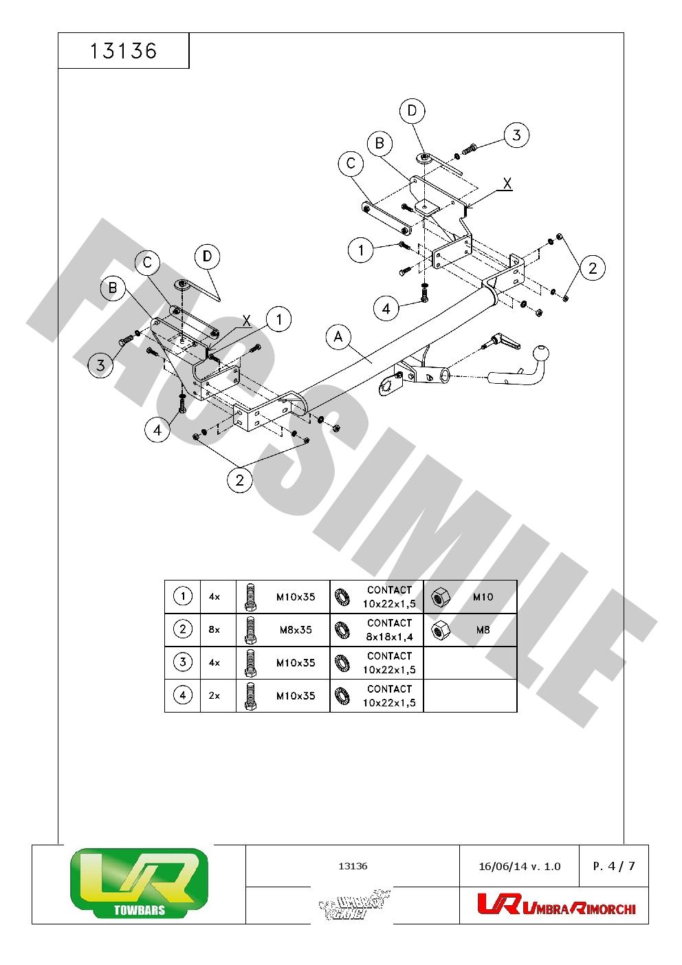 Detachable Towbar + 7pin Electrics for Fiat Stilo Hatch 3