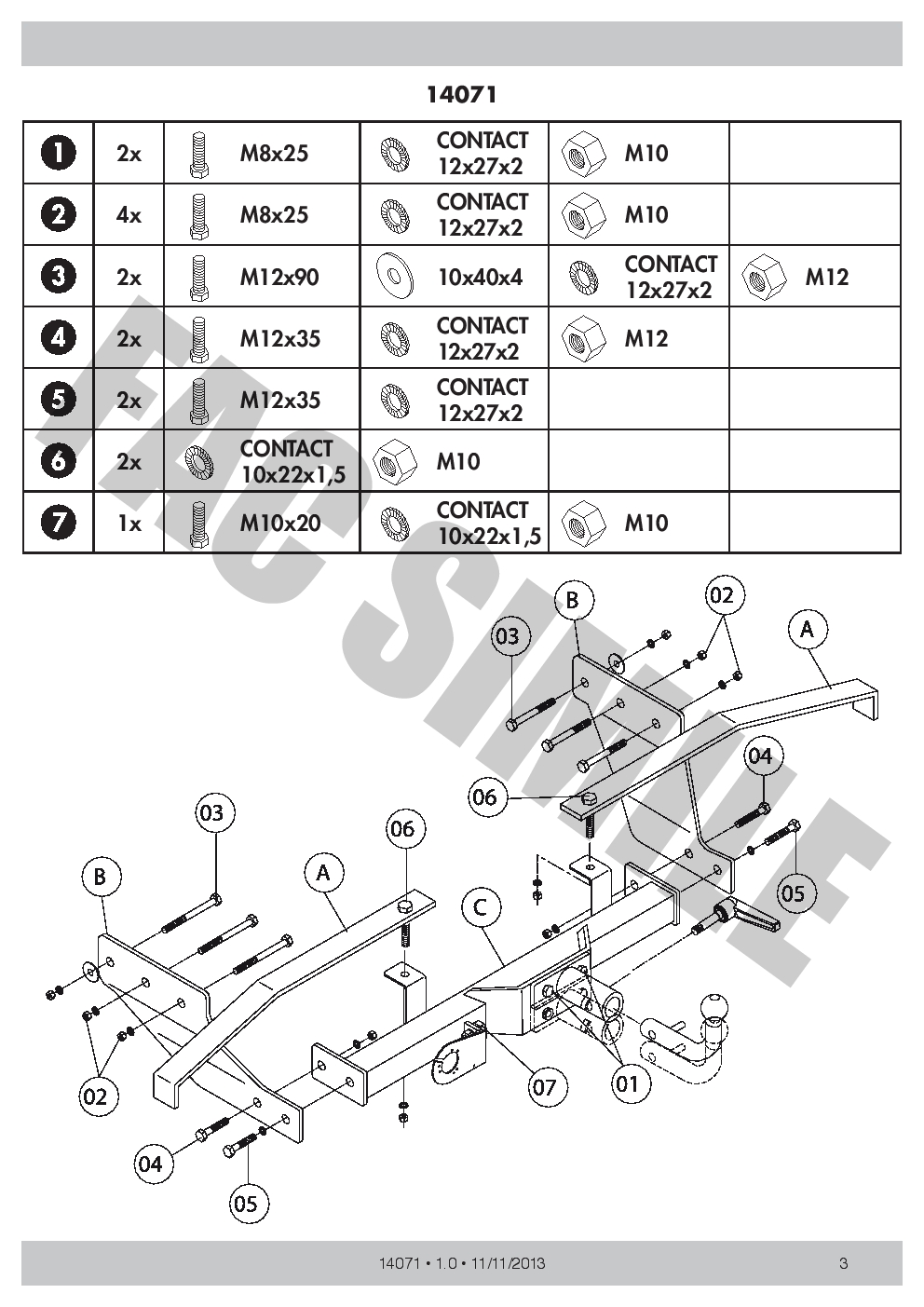 Detachable Towbar for + 7pin Bypass Relay Ford TRANSIT Van