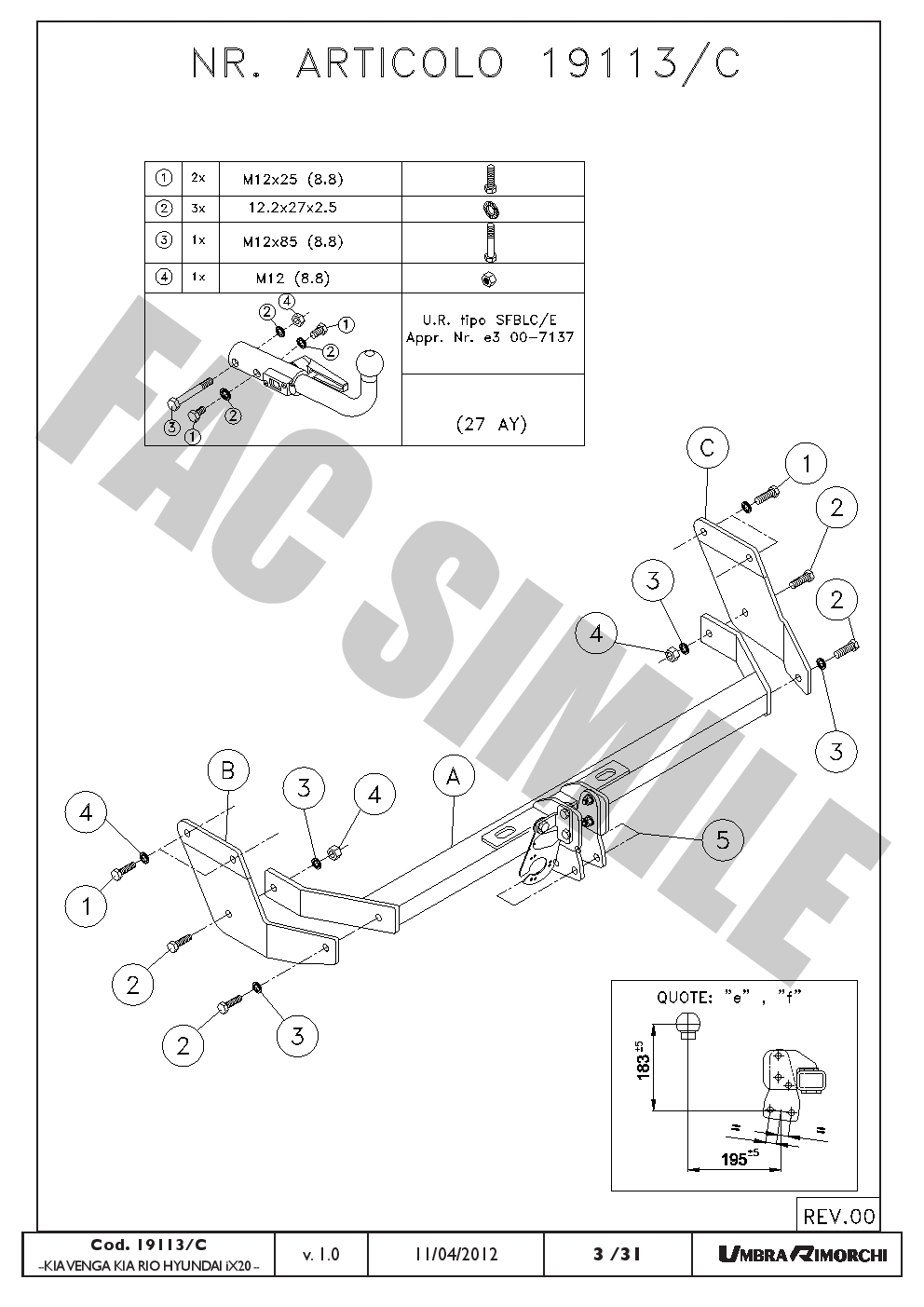 Detachable Towbar + 7pin Wiring for Hyundai iX20 Hatchback