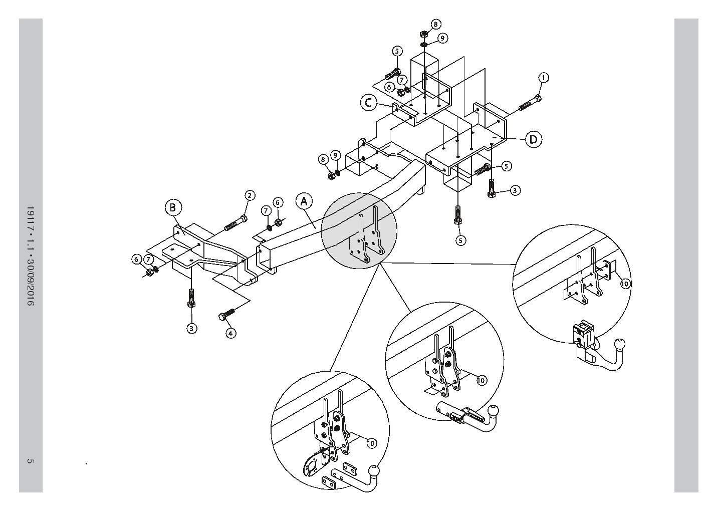 Detachable Towbar fits KIA SORENTO 2-4WD 2015+ 19117/C_B3