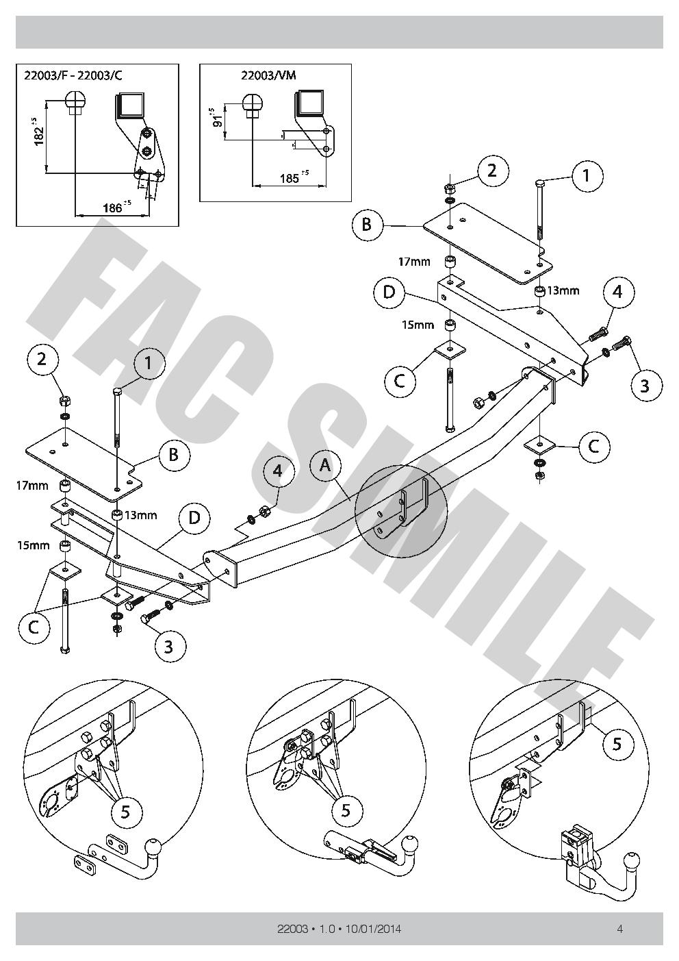 Swan Neck Towbar for Mazda 6 WAGON Estate Restyling 2002