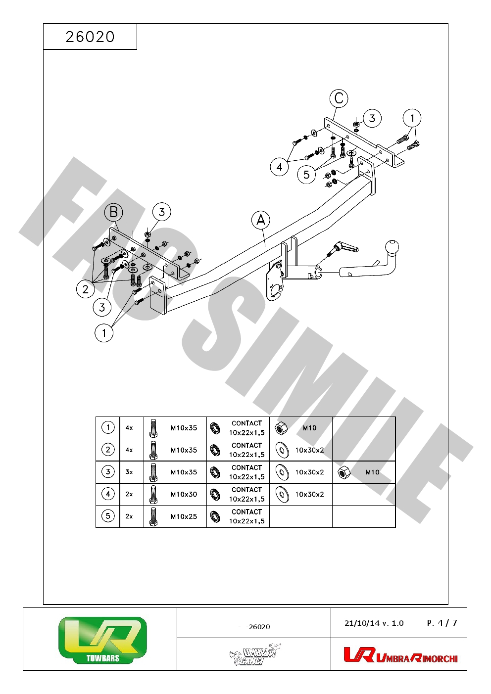 Detachable Towbar + 7pin Wiring for Nissan PRIMERA Estate
