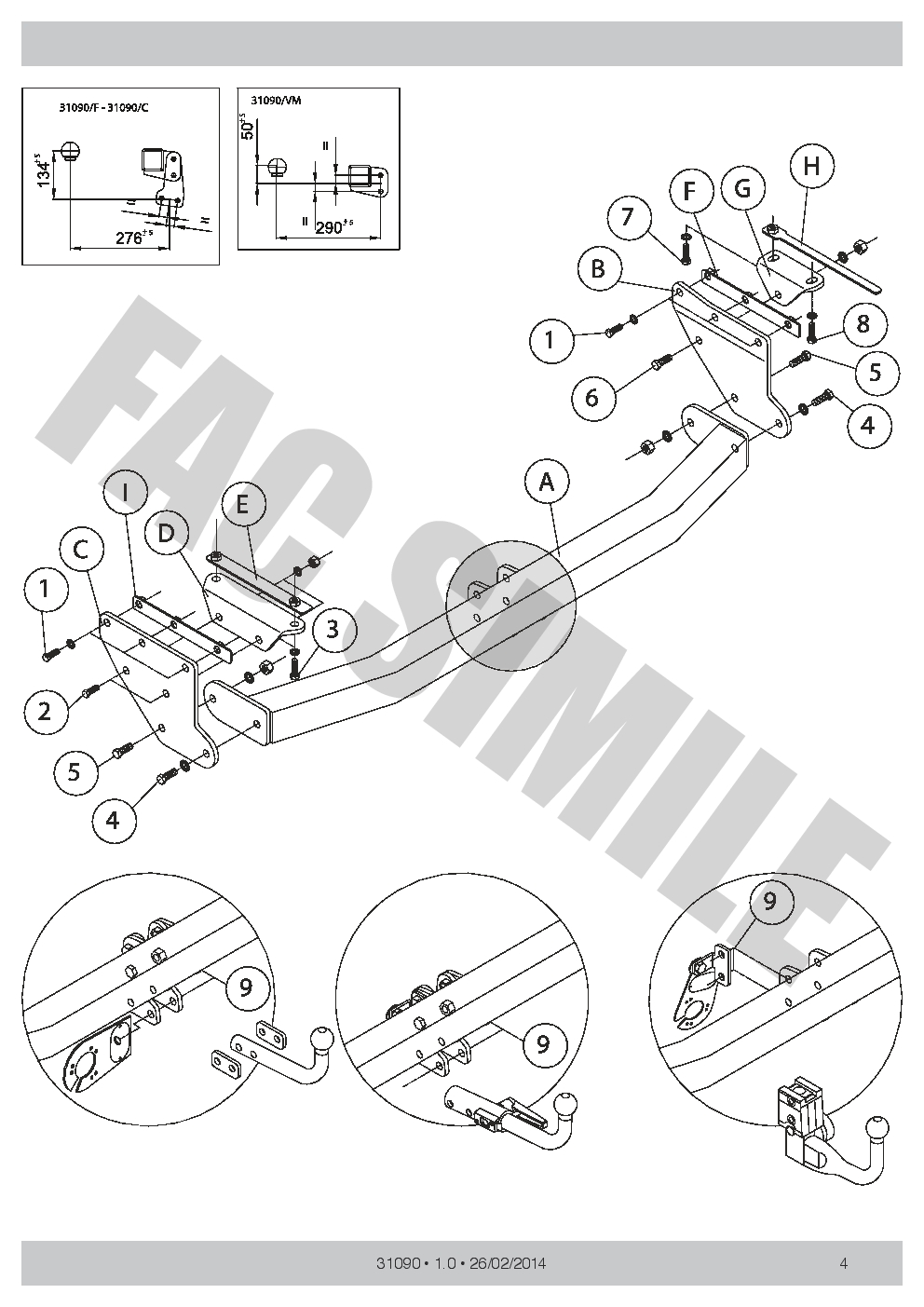 Vertical Detachable Towbar 13p C2 Wiring for Renault