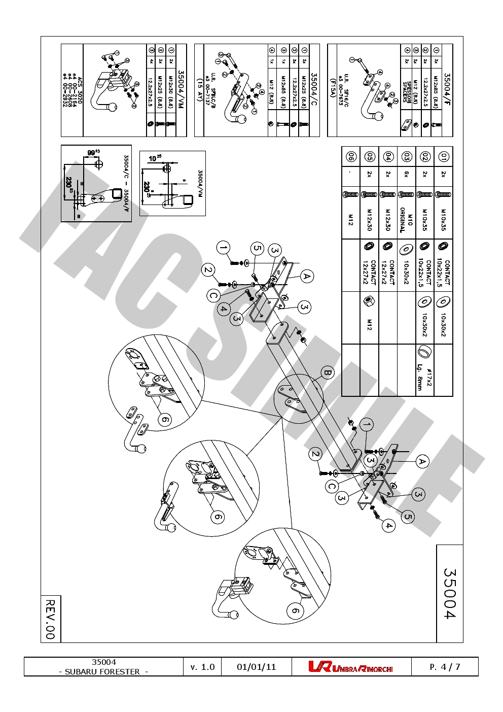 7pin Electrics Subaru FORESTER Est 2008 on 350_H1 Swan