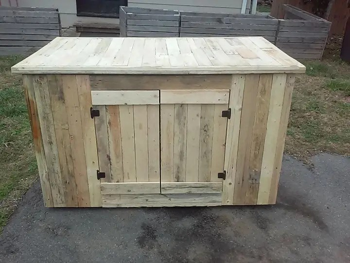 Wooden Pallet Kitchen Island With Cabinets Easy Pallet Ideas
