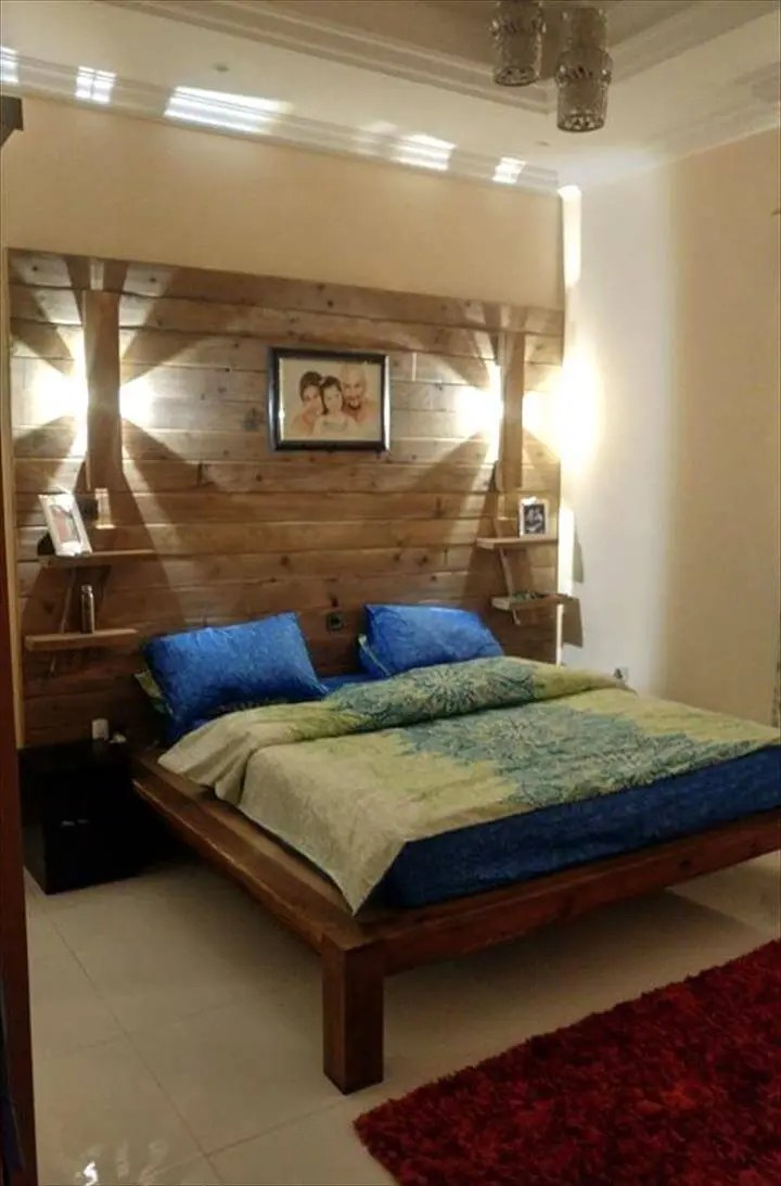 Diy Pallet Bed With Wall Headboard Lamps Shelf Easy