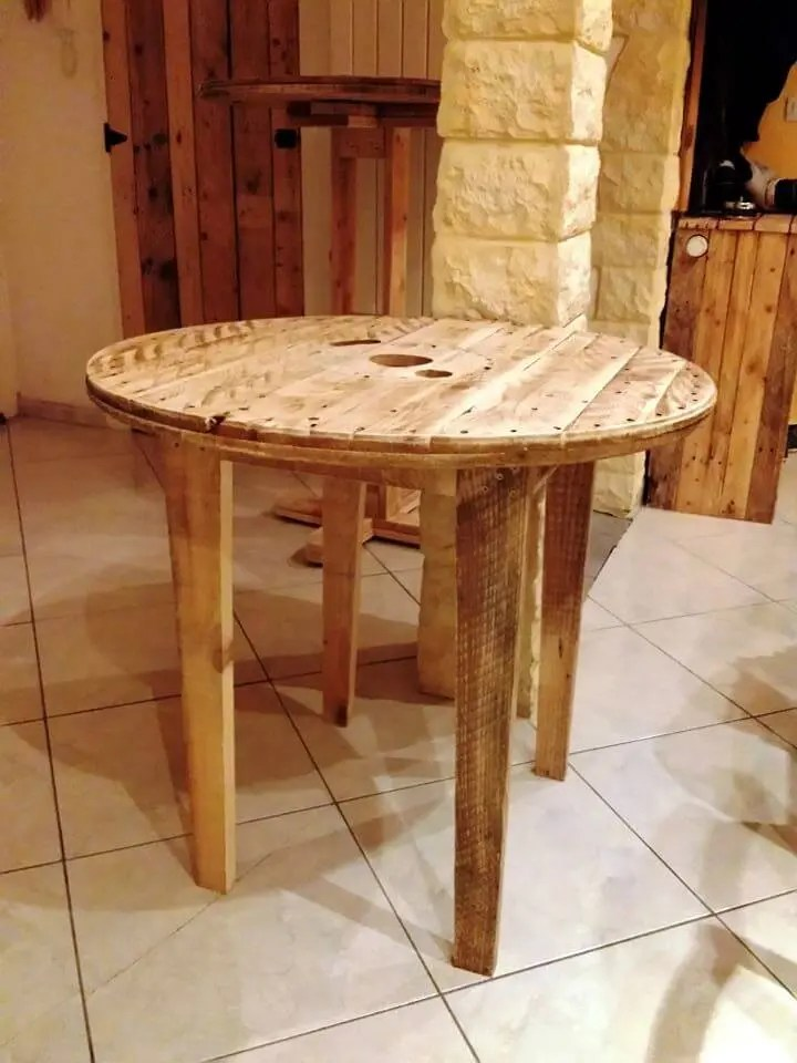 Round Wood Breakfast Table