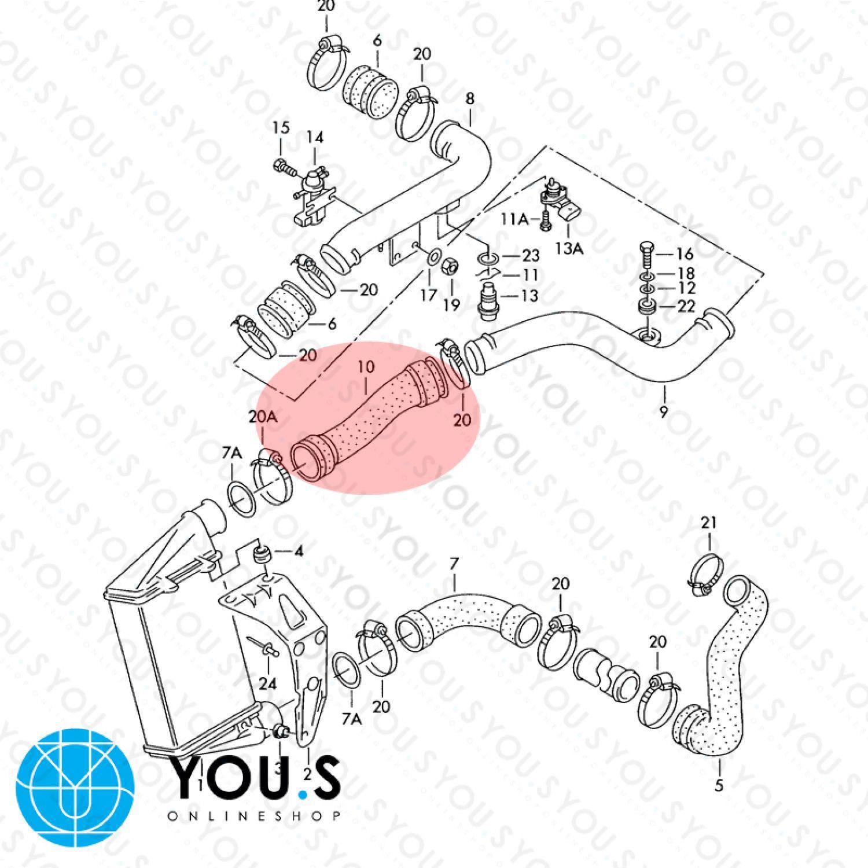 hight resolution of s original turbo hose charge hose vw passat 3b 2 passat variant 3 b 5 1 9 tdi 058145856a