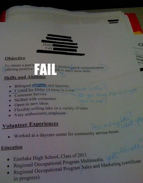 Resume Fails Gallery EBaum's World