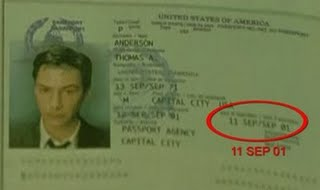 The Matrix 1999...In the 1999 film of the Matrix, Anderson's ID has the date of September 11, 2001 on it.
