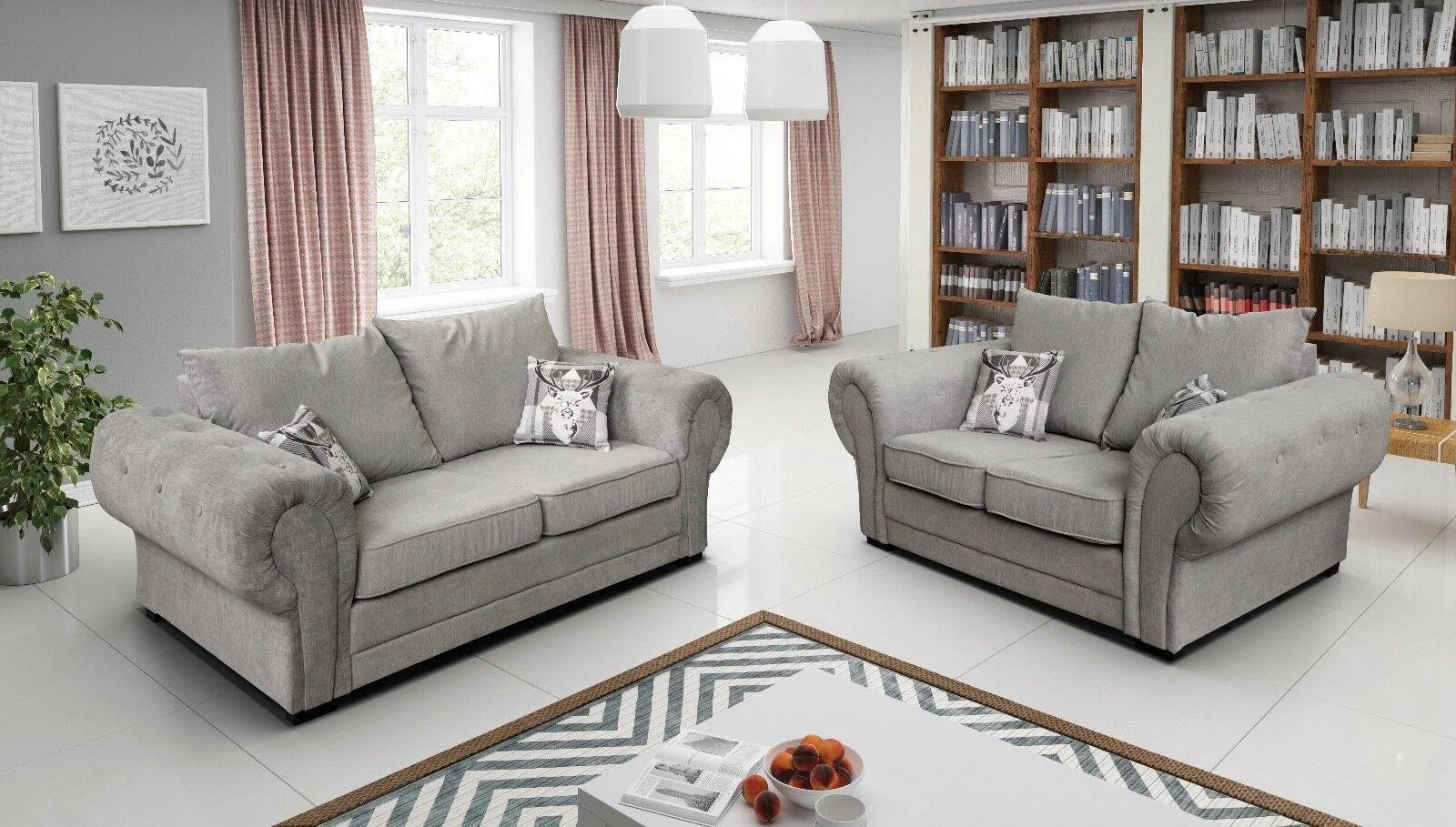 Baron Full Back Grey Or Silver Sofa Fabric Corner 3 2 1 Or Left Right