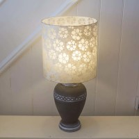 Ceramic Urn - Charcoal Table Lamp ~ 30cm x 30cm Drum Lamp ...