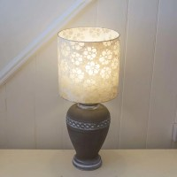 Ceramic Urn - Charcoal Table Lamp ~ 25cm x 25cm Drum Lamp ...
