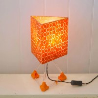 3D Printed Table Lamp - Orange - Triangle Lamp Shade