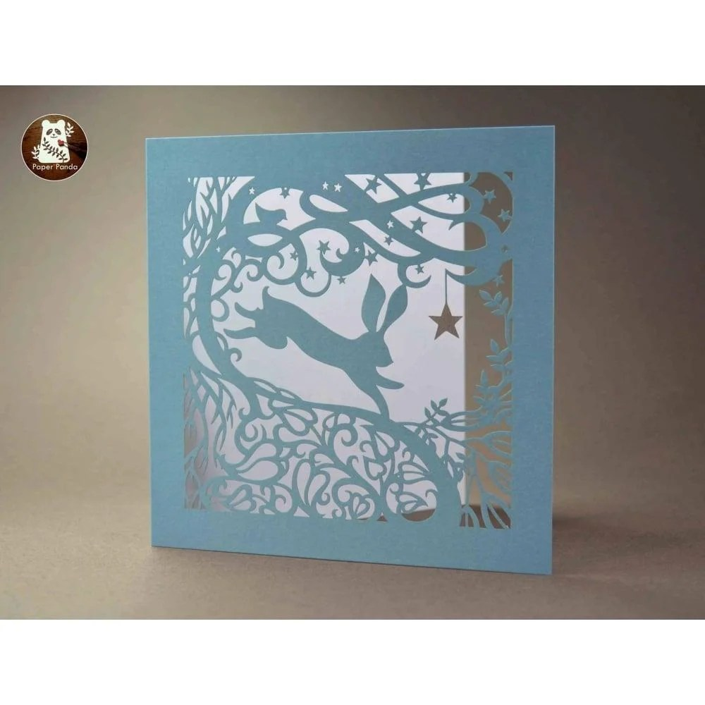 Starry Night Hare  Laser Cut Greetings Card