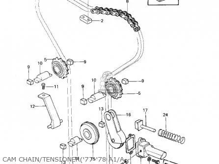 CAM CHAIN/TENSIONER: full kit (1000) 1977-1978
