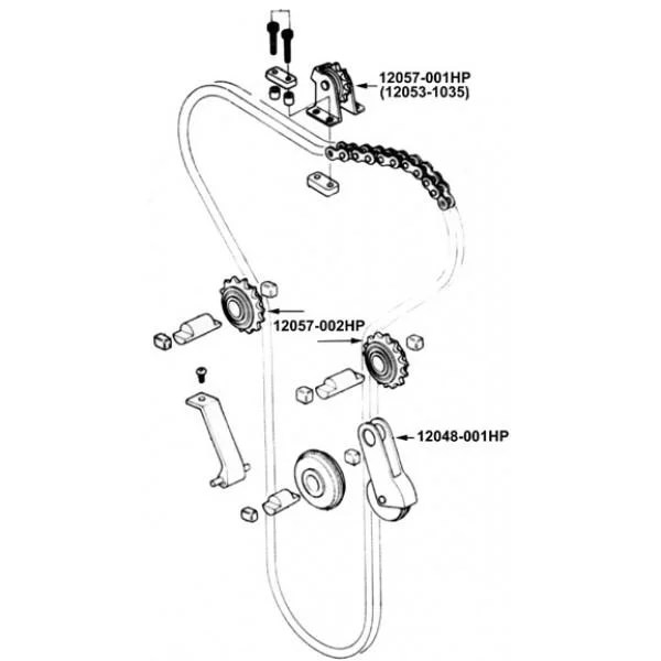 Camchain idler rubber set (6) 900/1000 Z650