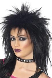 80s rock diva wig black