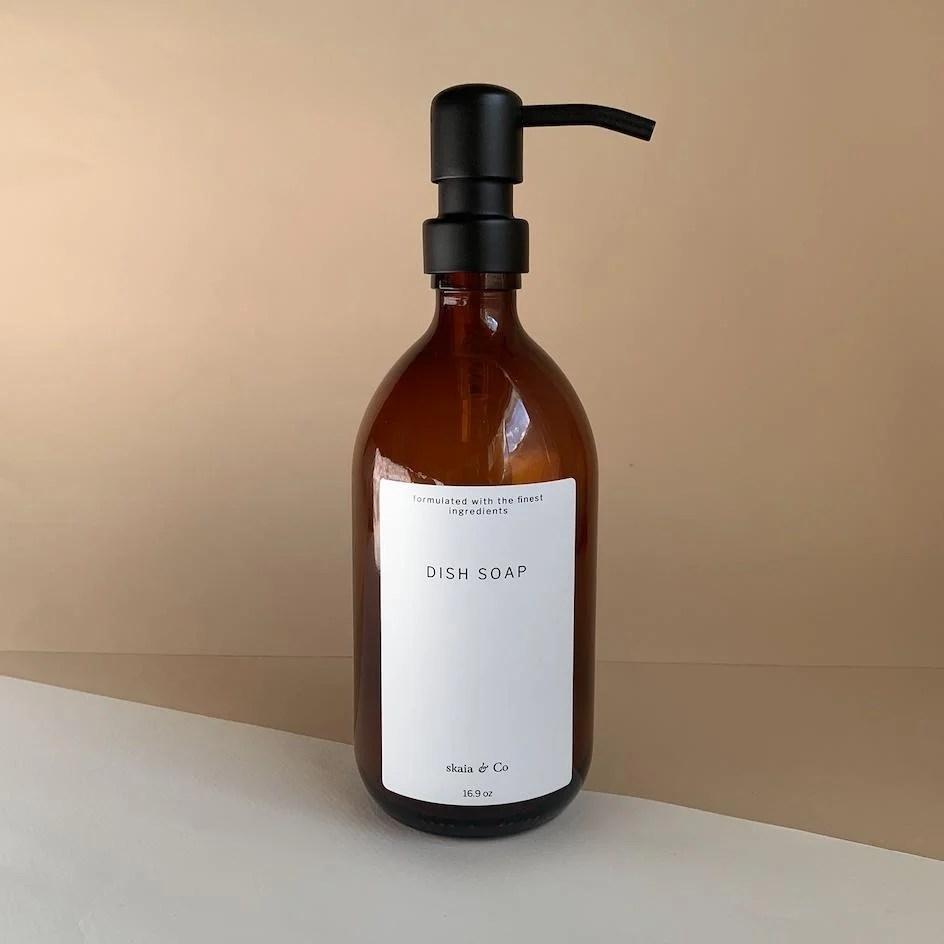 amber glass dish soap bottle 500ml