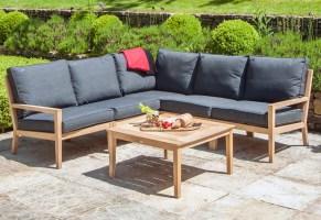 garden lounge corner sofa set in roble hardwood with grey ...