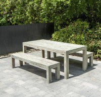 modern wooden garden dining picnic table and benches in ...