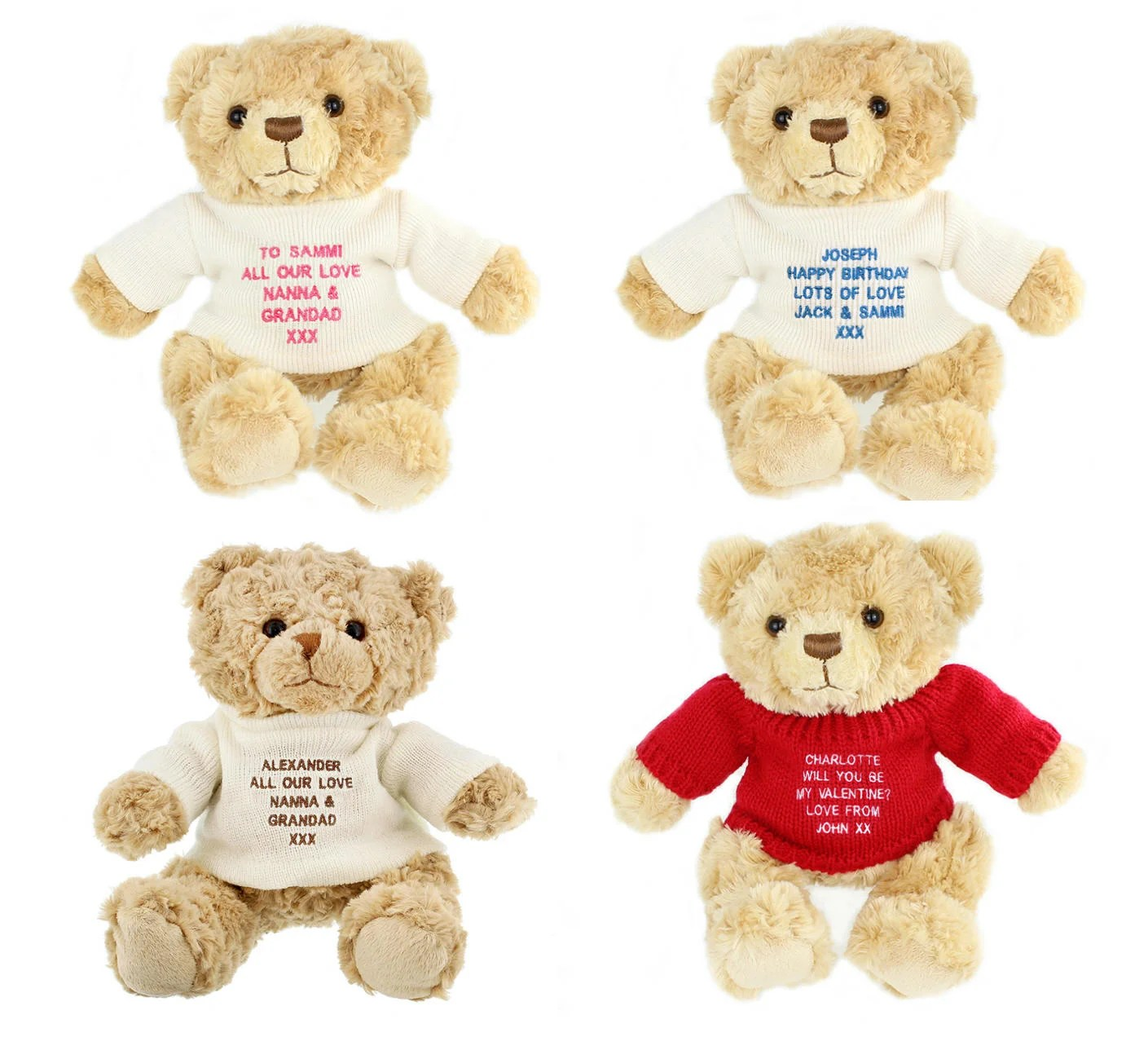 Personalised Teddy Message Bears 4 Colours