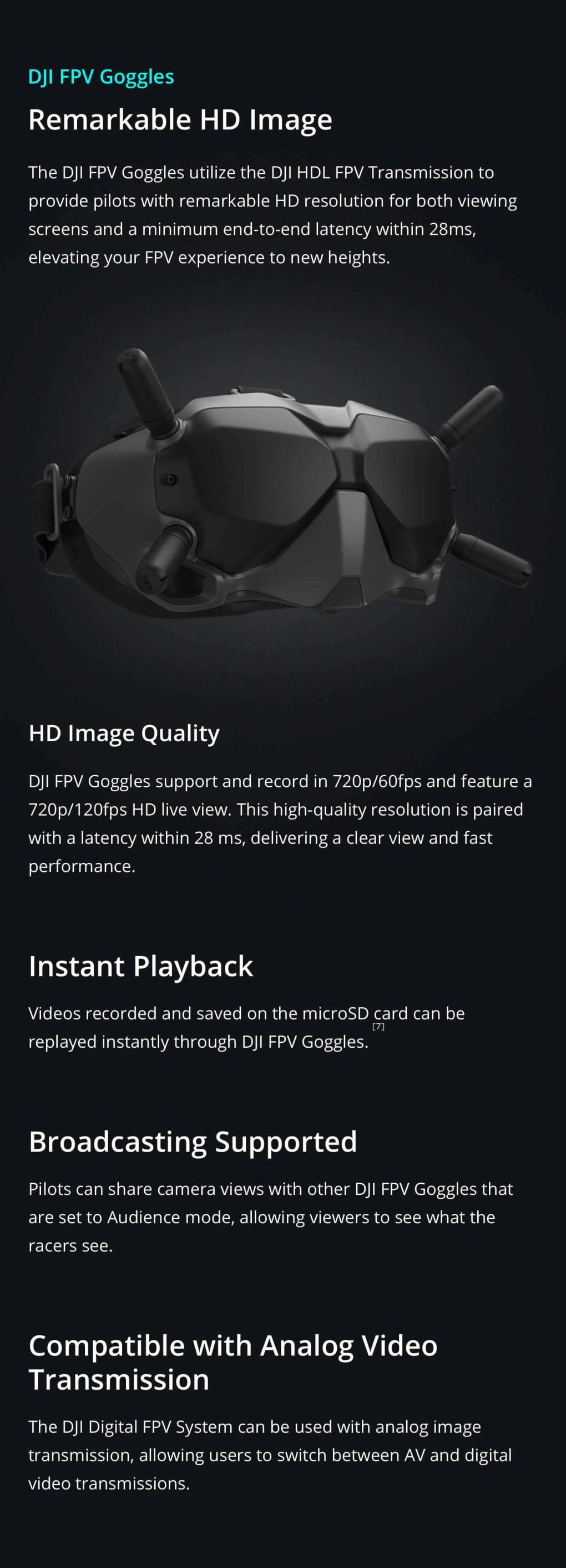 DJI FPV HD Goggles digital and analogue