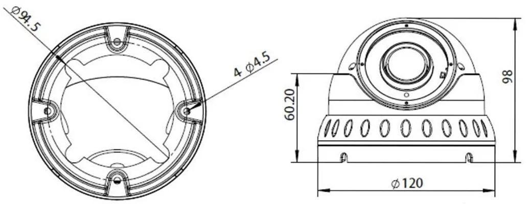 5MP Varifocal 2.8-12mm Lens Ball Dome 30m IR in White