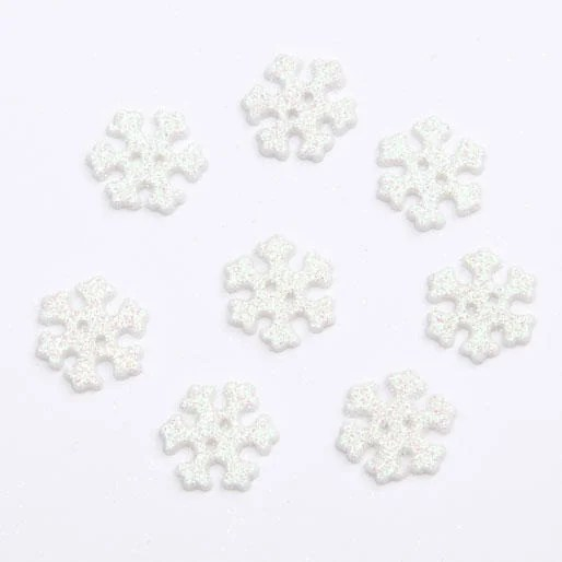 Frosted Snowflake Buttons 100 Piece Bag CN64