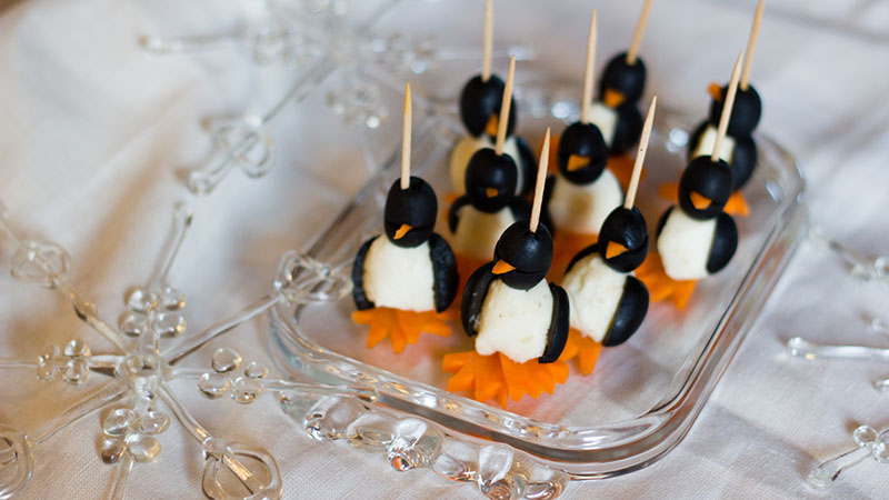 Carrot olive cheese penguin appetizers