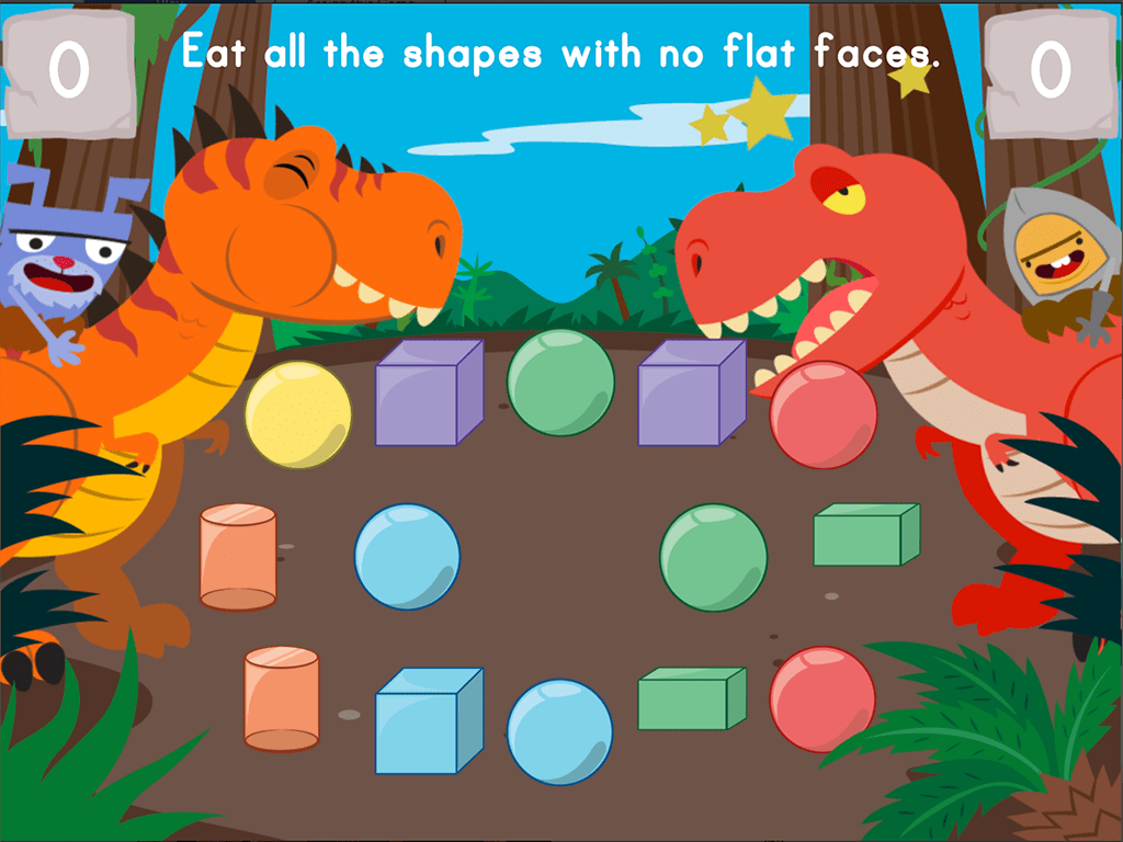 hight resolution of Dino Crunch: Attributes of 2D and 3D Shapes   Game   Education.com