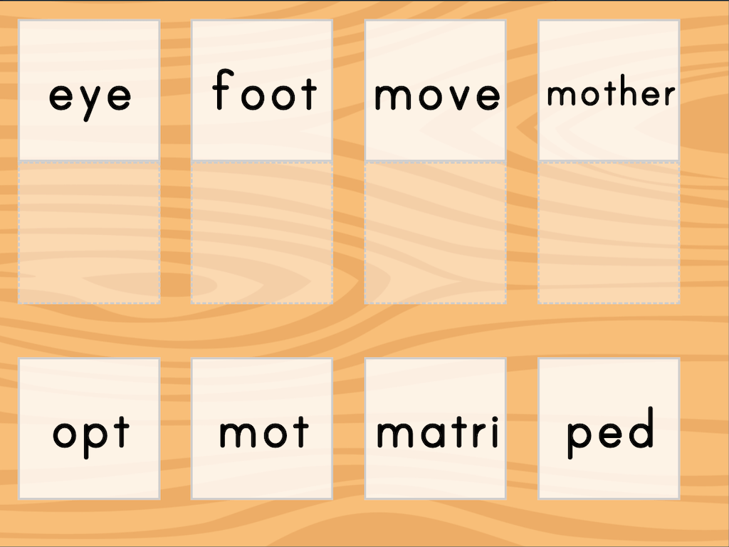 hight resolution of Match: Meaning of Root Words   Game   Education.com