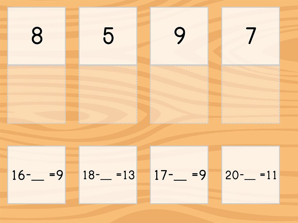hight resolution of Match: Subtraction Within 20 and Missing Factors   Game   Education.com
