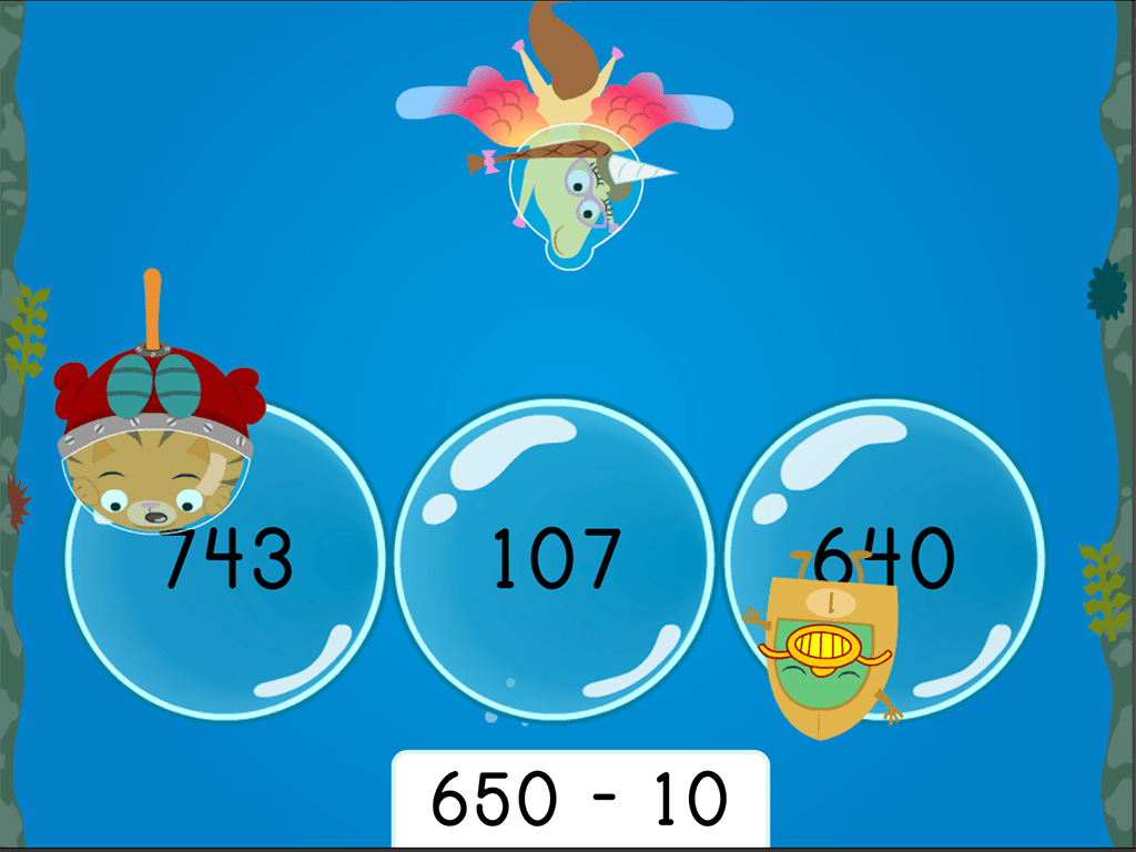 Treasure Diving Finding 10 Less Three Digit Subtraction