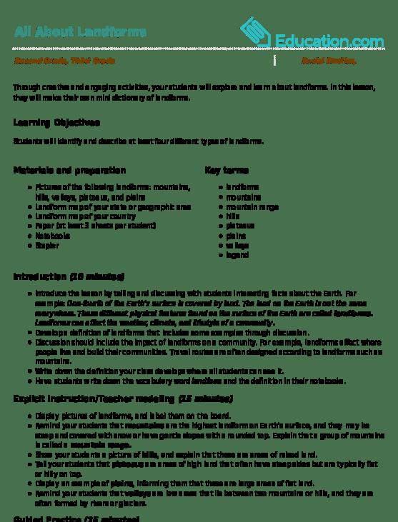 All Worksheets  Types Of Landforms Worksheets