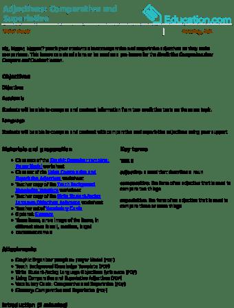 adjective lesson plans education