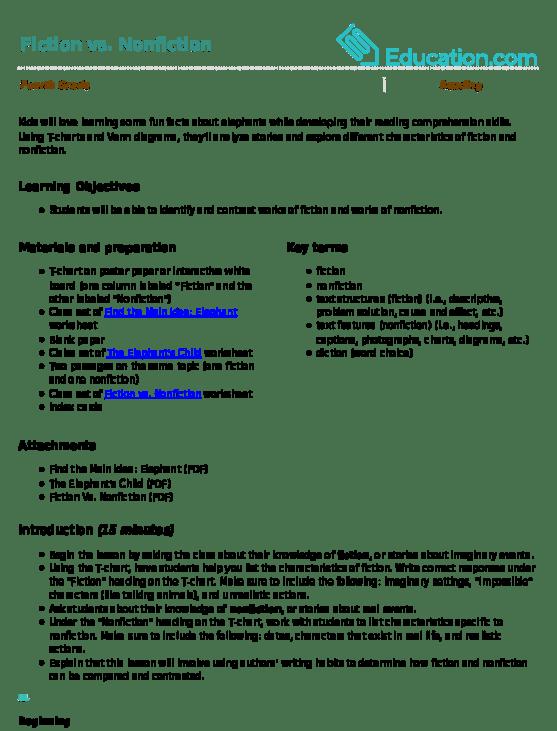 fiction vs nonfiction venn diagram single phase power lesson plan education com