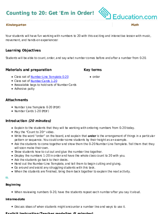 1-20 number line template