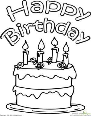Color the Happy Birthday Cake Worksheet Education
