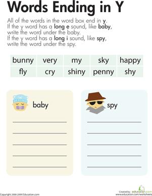 Y As A Vowel : vowel, Vowel, Sounds:, Worksheet, Education.com