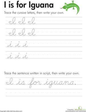 How Do You Do A Cursive I : cursive, Cursive, Handwriting, Practice, Worksheets, Education.com