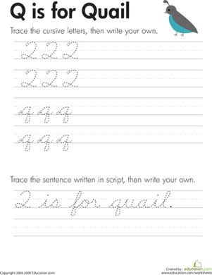 Upper Case Cursive Q : upper, cursive, Cursive, Handwriting, Practice, Worksheets, Education.com