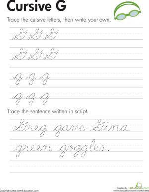 Capital G In Cursive : capital, cursive, Cursive, Worksheet, Education.com