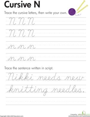 Cursive Handwriting Practice Worksheets A-Z | Education.com