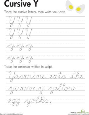 Cursive Letter Y : cursive, letter, Cursive, Handwriting, Practice, Worksheets, Education.com
