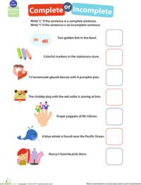 Get into Grammar: Complete or Incomplete? | Worksheet ...